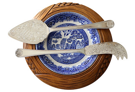 English Willow Cheese Serving Set, 3 Pcs