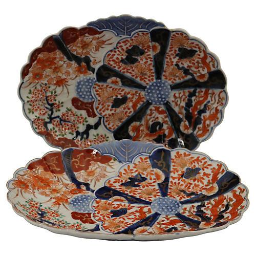 Antique Japanese Imari Platters, Pair