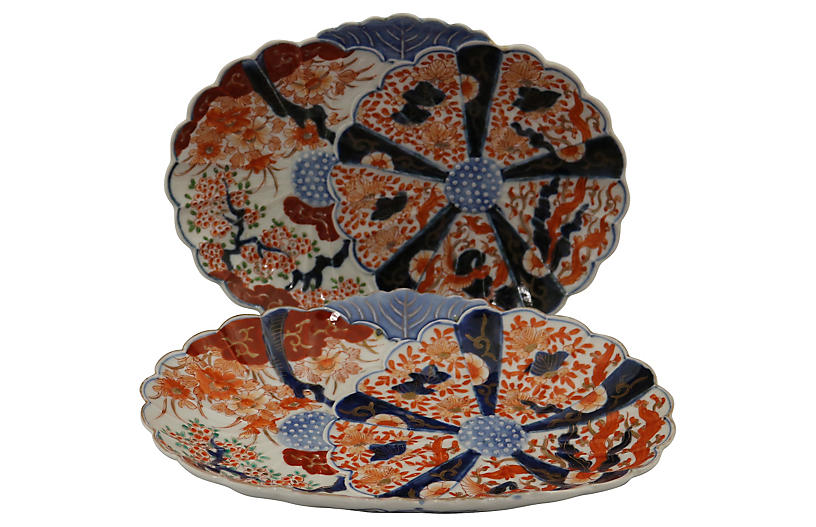 Antique Japanese Imari Platters, Pair