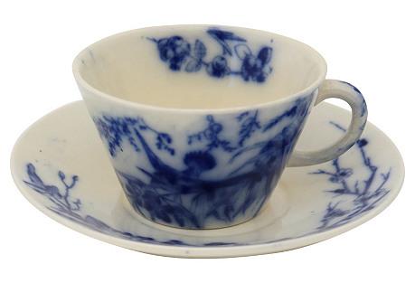 Flow Blue Bird  Cup   & Saucer, 2-Pcs