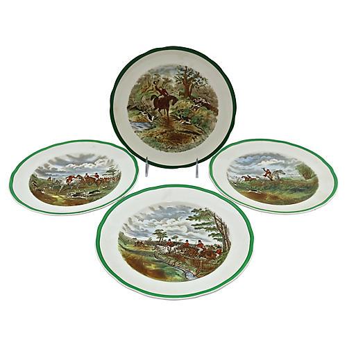 Spode Hunting Scene Plates, S/4