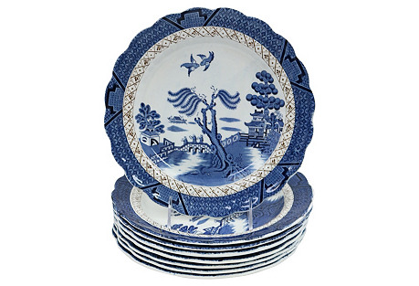 English     Willow Dinner Plates, S/8