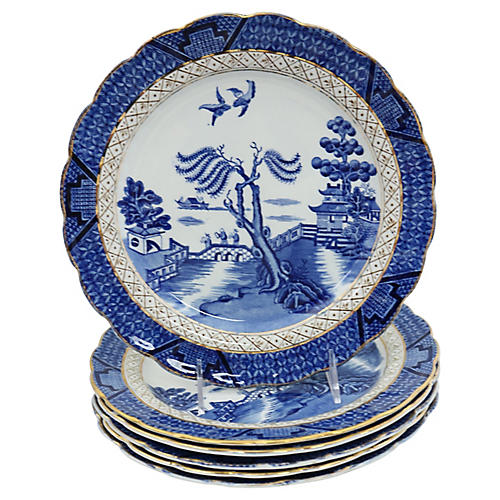English Willow Dinner Plates, S/6