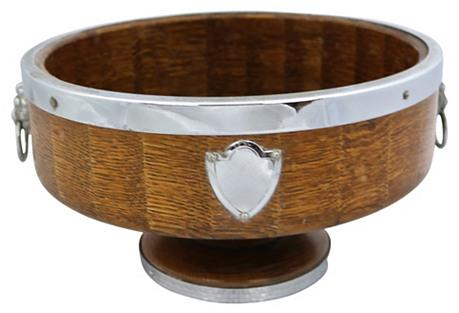 English Oak Lion Head & Shield Bowl