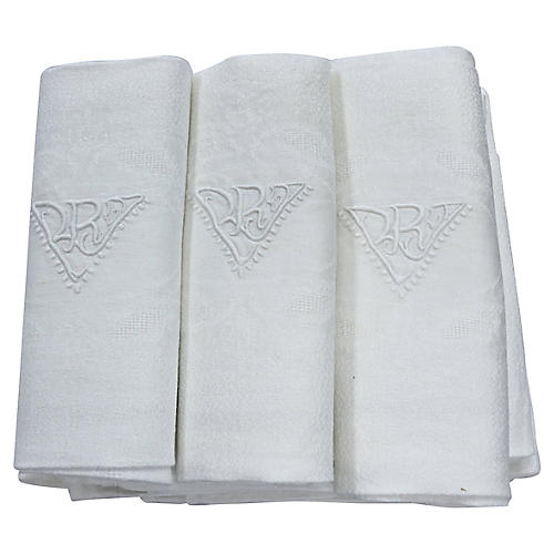 Antique French Dinner Napkins, S/11