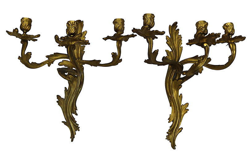 French Gilded Wall Sconces, Pair