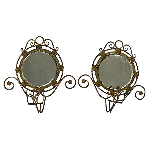 French Mirrored Sconces, Pair
