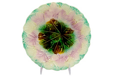 Antique English Majolica Foliage   Plate
