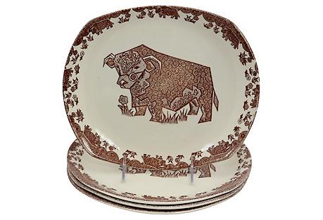 English  Ironstone Bull Steak Plates,S/4