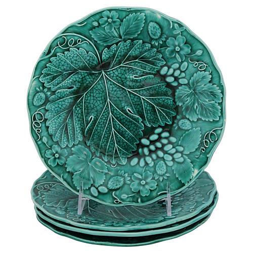 Antique Green Majolica Plates, S/4