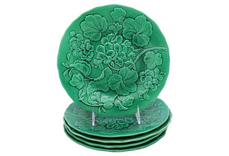 Antique Green Majolica Plates, S/5