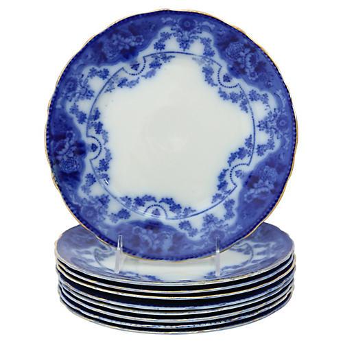 Antique Flow Blue Dinner Plates, S/9