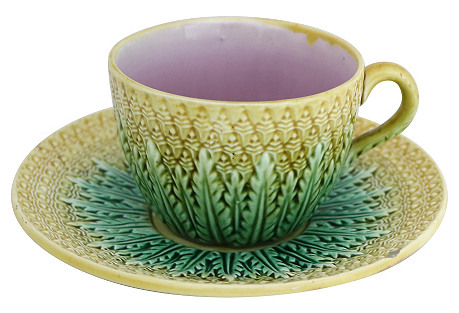 Antique English Majolica Cup & Saucer