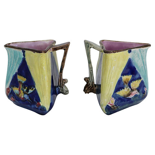 Antique English Majolica Bird Jugs, Pair