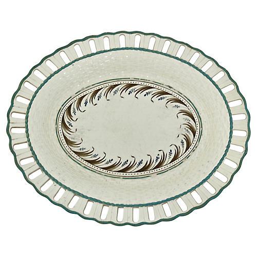 Antique Creamware Pierced Edge Plate