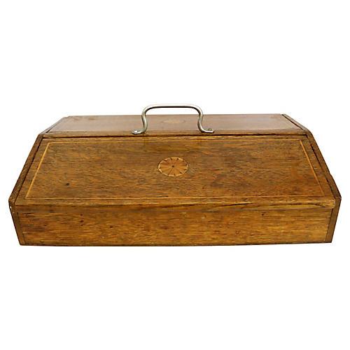 Antique English Inlaid Oak Cutlery Box