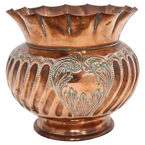 Antique English Copper Fluted Planter