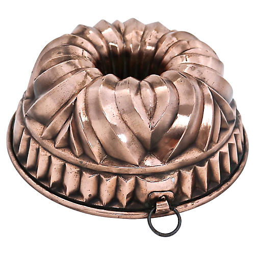 Antique English Copper Sponge Cake Pan