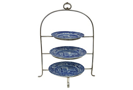 English Hotel Tea Stand w/Spode Plates
