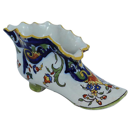 Antique French Faience Trinket Holder