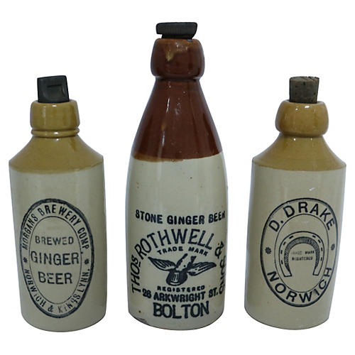 Moscow Mule Ginger Beer Bottles, S/3