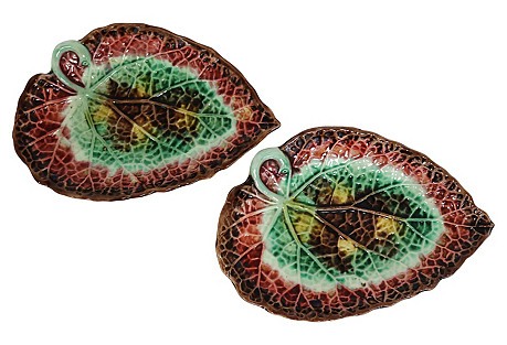 Majolica Tobacco Leaf Dishes, Pair