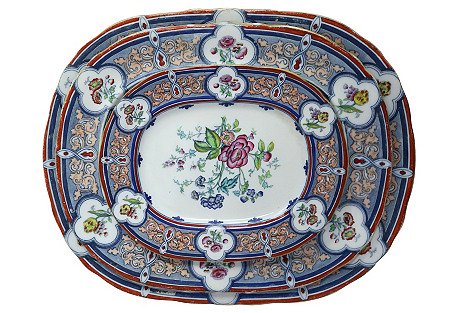 Antique Enameled Ironstone Platters, S/3