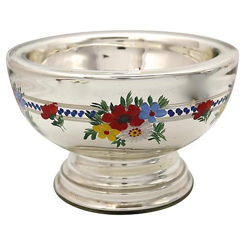 Antique Mercury Glass Pedestal Bowl