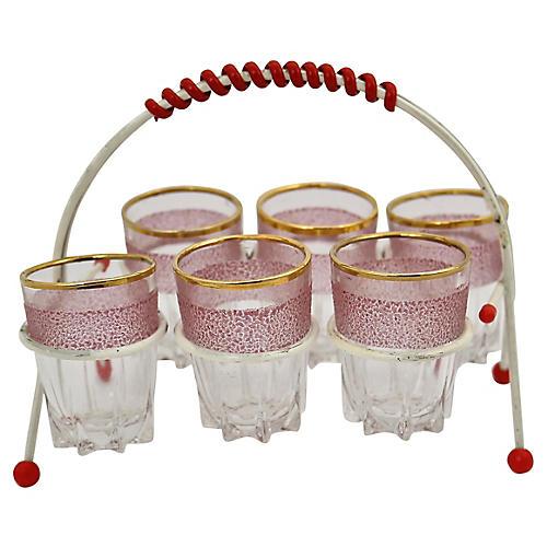 French Pink Liqueur Glass Set, 7Pc