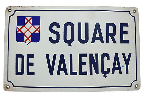 French Loire Valley Enameled Street Sign