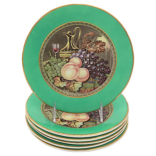 Antique English Wine & Fruit Plates, S/6