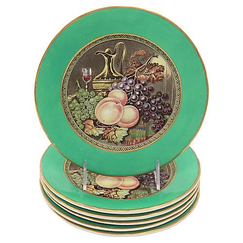 Antique English Wine & Fruit Plates, S/6