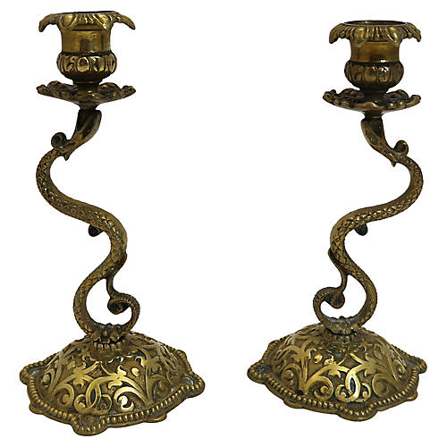 19th-C. Serpent Candleholders, S/2
