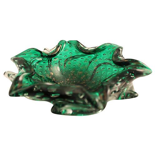 Murano Emerald & Copper Cigar Ashtray