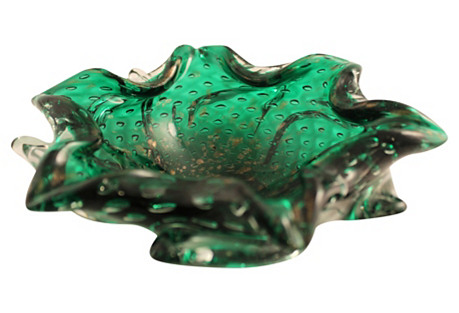 Murano Emerald & Copper Cigar Ashtray