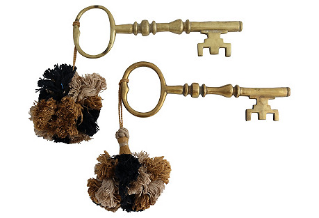 Oversized Decorative Skeleton Keys, S/2