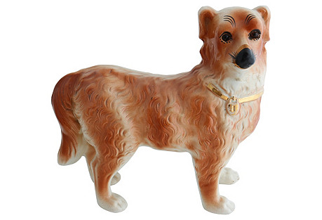 Antique Staffordshire Standing Collie