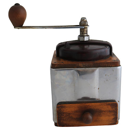 French Wood & Chrome Coffee Grinder