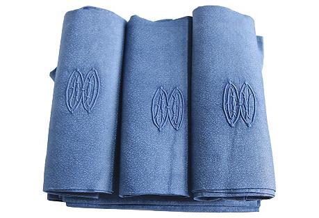 Antique French Blue Linen Napkins, S/9