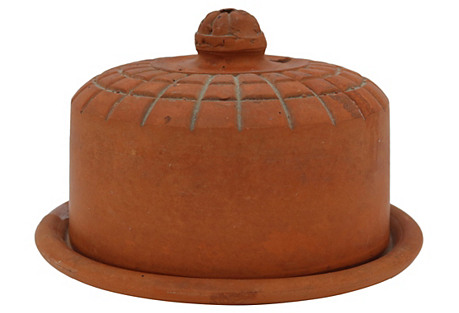 Antique French Terracotta Cheese Keeper
