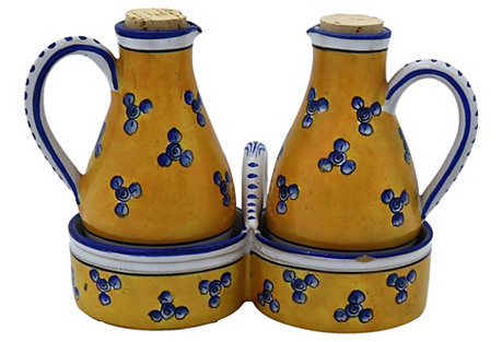French Oil & Vinegar Cruet Set, 3 Pcs