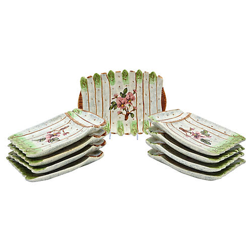 French Vallauris Asparagus Set, 9 Pcs