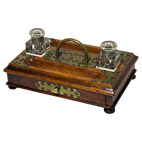Antique Oak and Brass Bankers Inkwell