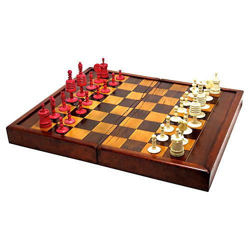 Antique Chess Set w/ Hand-Carved Pieces