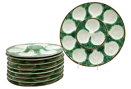 French Majolica Oyster Set, 9-Pcs