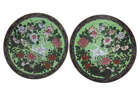 French Cloisonné Chargers, Pair