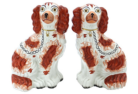 Antique Staffordshire King Charles, Pair