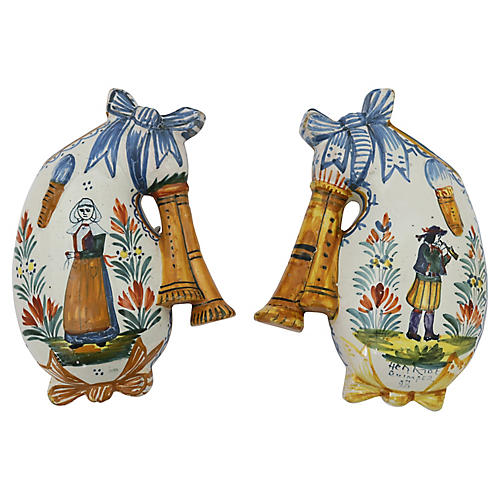 French Quimper Wall Pocket Vases, Pair