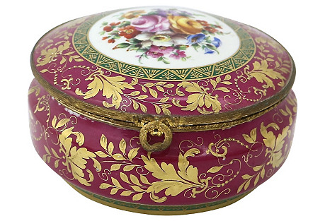 French Hand-Painted Porcelain Powder Box