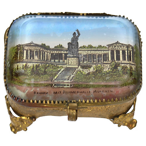 Antique French Ring Box w/ Munich Scene